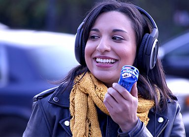 person holding audio recorder