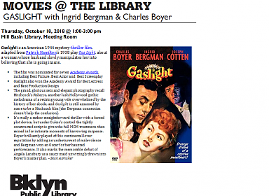 Movies @ the Library: Silver Screens: Gaslight