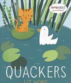 Book cover has a cat on a lillly pad and a duck floating by, the seen is of a pond with the title across the lower part of the book.