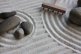 Sand in a Zen garden seen from above