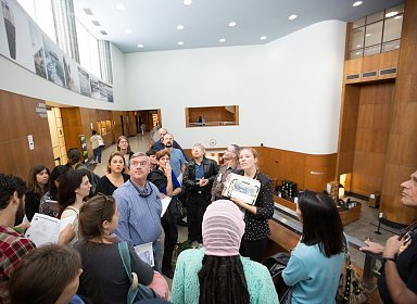 A public tour of Central Library being led by a librarian