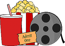 Film Reel, Popcorn, Movie Ticket, Drink