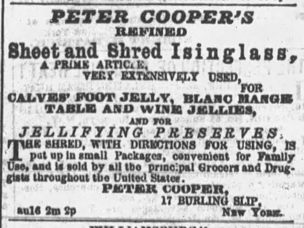 Newspaper clipping from 1859 about Peter Cooper's gelatine