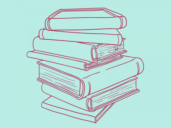 line drawing of stack of books