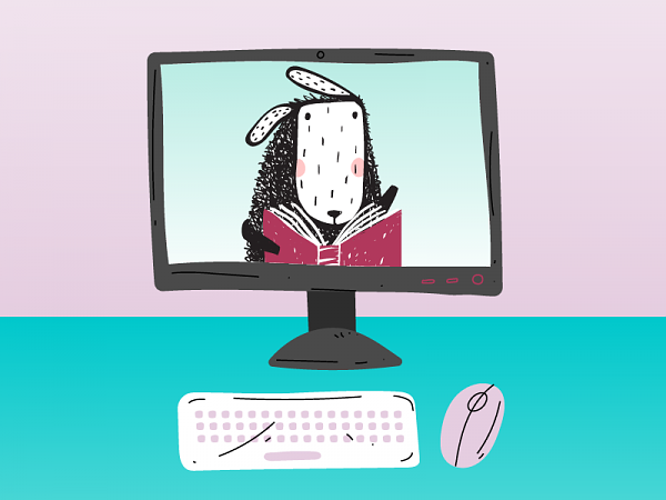 Cartoon of a sheep reading a book on a computer screen