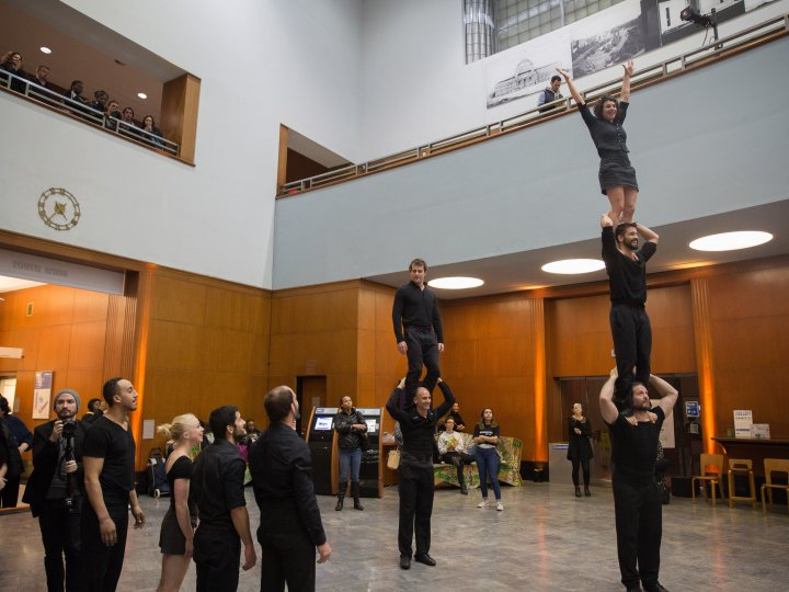 Acrobats perform during Night of Philosophy and Ideas